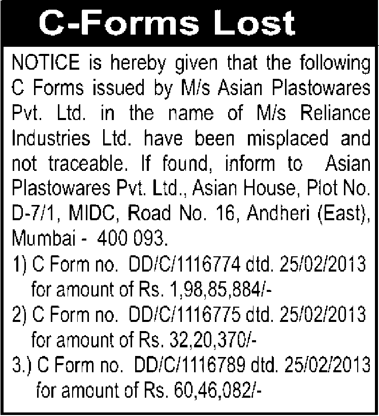 PUBLIC NOTICE LOSS OF DOCUMENTS