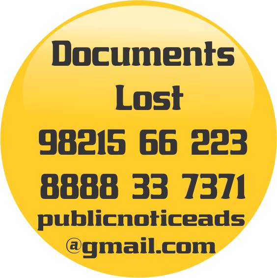 PUBLIC NOTICE LOSS OF DOCUMENTS - PUBLIC-NOTICE -STARTS-890/-