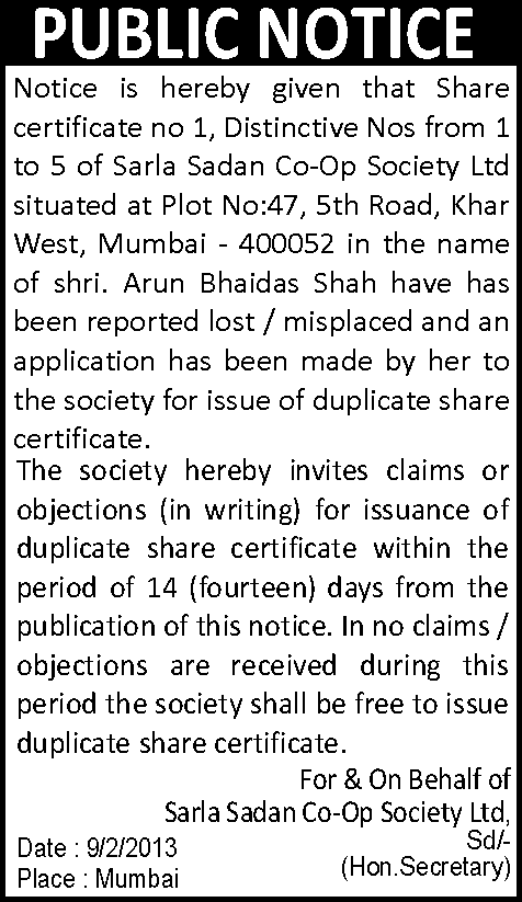 notice-of-loss-of-share-certificate
