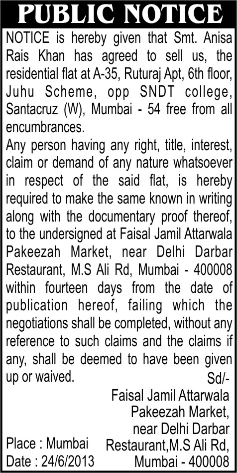 public notice-IN TIMES OF INDIA