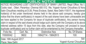 share certificates lost